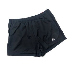 Adidas Women's Black Pull On Red 3 Stripe Shorts